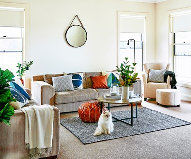 Before and after family-friendly living room