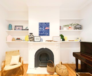 shelving above fireplace