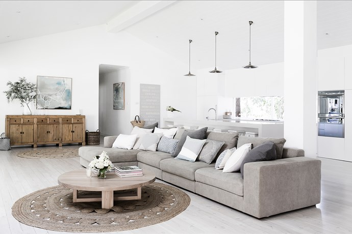 """""""Once the renovations were complete, I set about painting every room in Dulux """"Vivid White"""". The fresh white walls work so well with the minimal, Scandinavian/coastal look that I've got when decorating."""""""