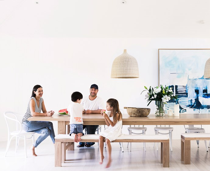 """""""Furnishing the house was simple – I have a very talented partner who makes beautiful hardwood furniture, so all our timber furniture, such as our dining table, coffee table, stools and beds all come from our business, [The Wood Room](http://thewoodroom.com.au/