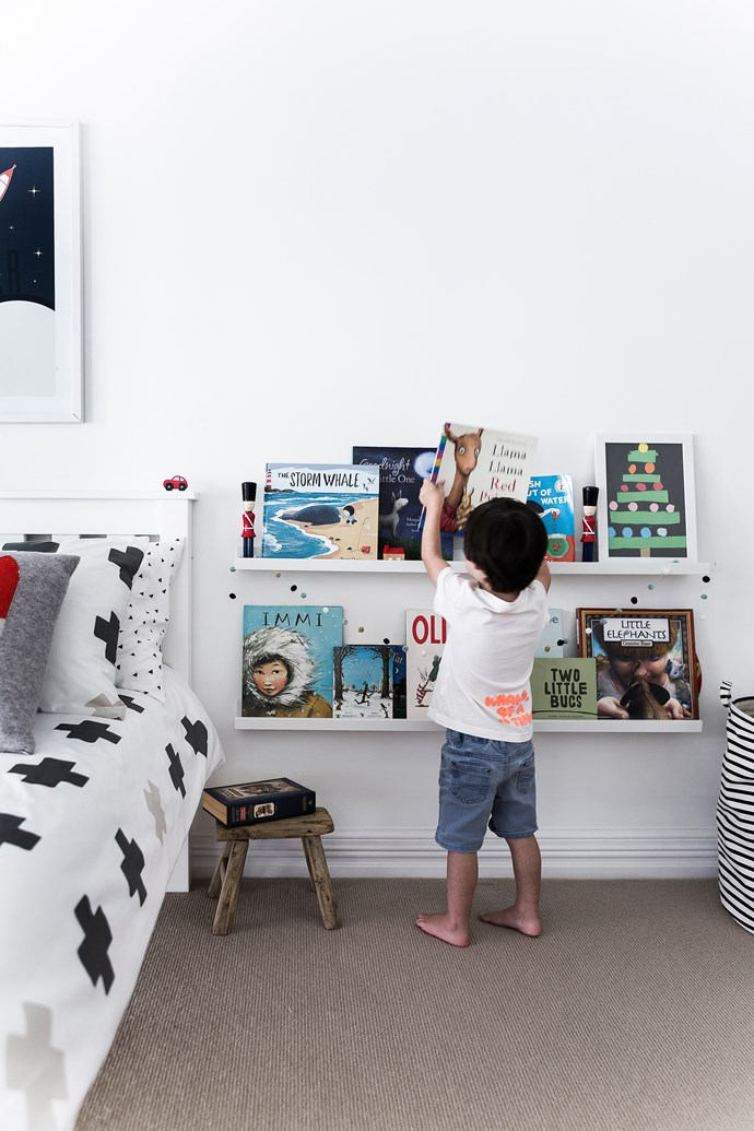 """Harry's books are all within easy reach thanks to these nifty bookshelves from [IKEA](http://www.ikea.com/