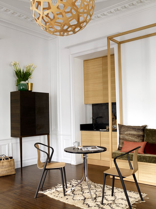 The original 'Haussmannian style' walls have been beautifully maintained in this [19th century French apartment](http://www.homestolove.com.au/restoration-of-a-19th-century-apartment-in-france-4233). *Photo: Gaelle Le Boulicaut*