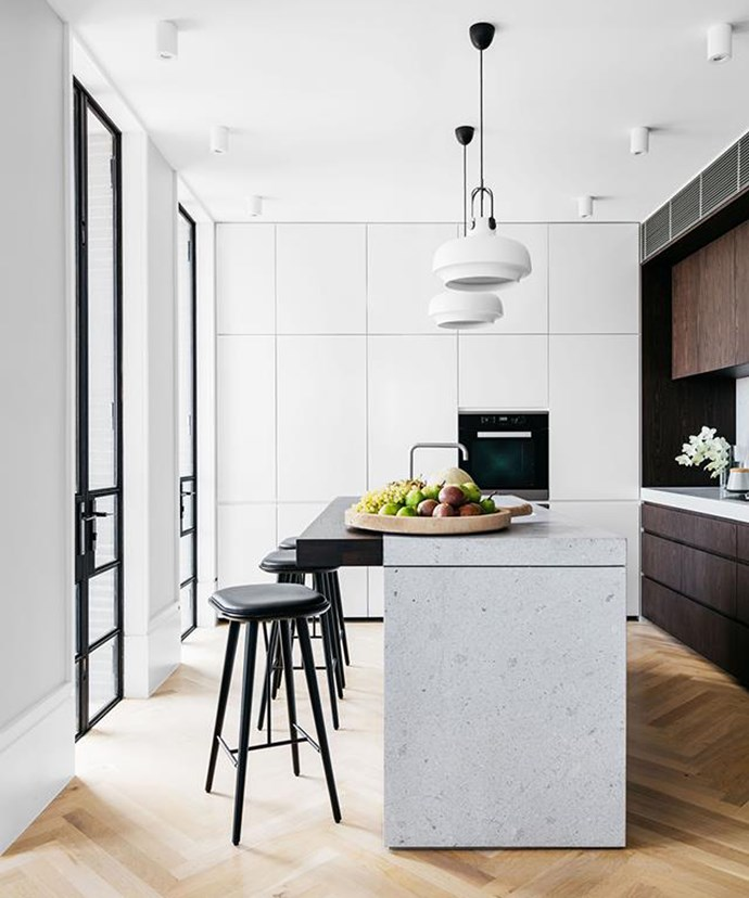 Create texture in an otherwise monochromatic space with materials such as marble and wood, or with a contrast in the direction of floorboard or tile arrangement. *Photo: Felix Forest / bauersyndication.com.au*