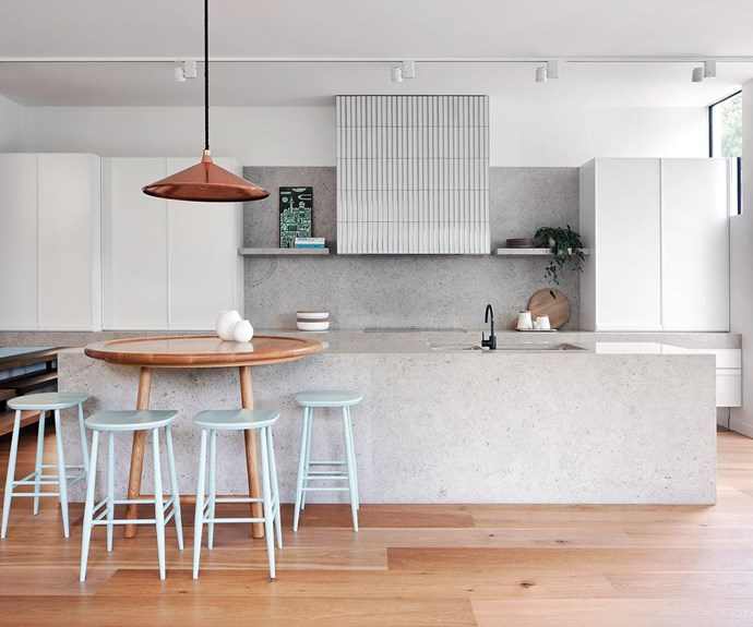 Here, touches of serene blue, green and rose gold harmoniously compliment grey and light wood tones. *Photo: Shannon McGrath / bauersyndication.com.au*