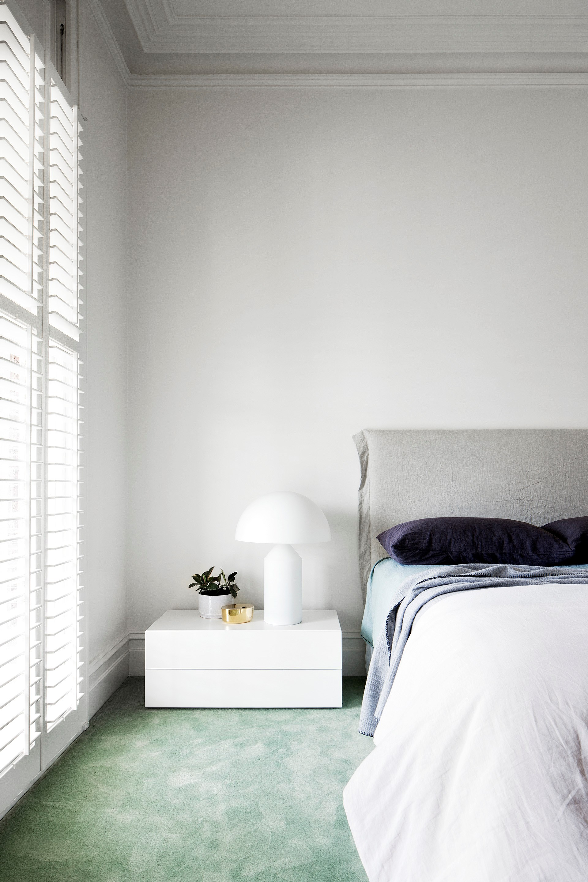 """Mint-green carpet is a refreshing addition to this [Victorian terrace](http://www.homestolove.com.au/south-yarra-terrace-by-hecker-guthrie-4380