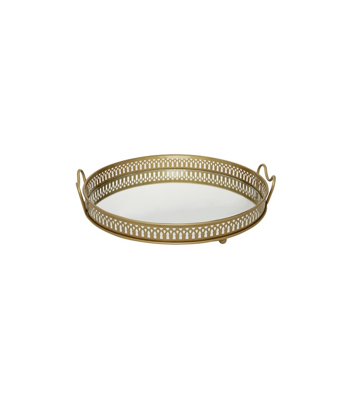 Get the look with this [Heritage gold regency serving tray](http://www.myer.com.au/shop/mystore/home/furniture-home-decor/decorative-accessories/gold-regency-serving-tray-427175560), $49.95