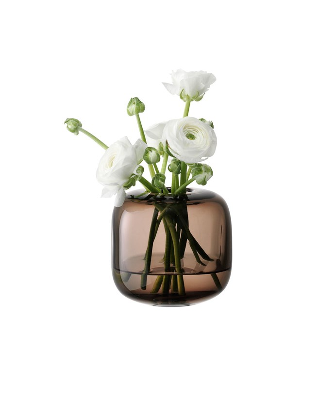 Get the look with this [LSA molten vase cube](http://www.myer.com.au/shop/mystore/home/vases/molten-vase-cube-11cm-smoke-281739250), $62.96
