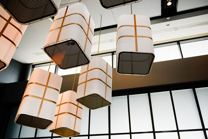 These box pendant lights with metallic accents had serious wow factor.