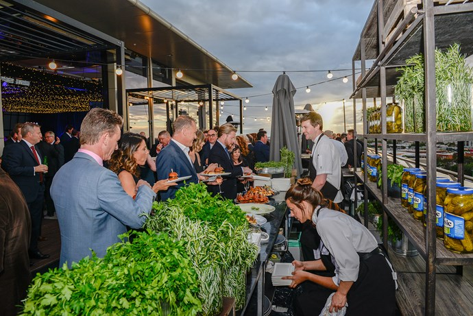 Guests were treated to a delicious rooftop buffet as the sun set over Melbourne's skyline.