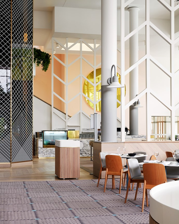 """""""It was originally moulded on 1970s and 80s Hawaiian style which is why there is such a big internal aspect instead of outward views,"""" says Miriam of the expansive lobby which remained untouched structurally."""