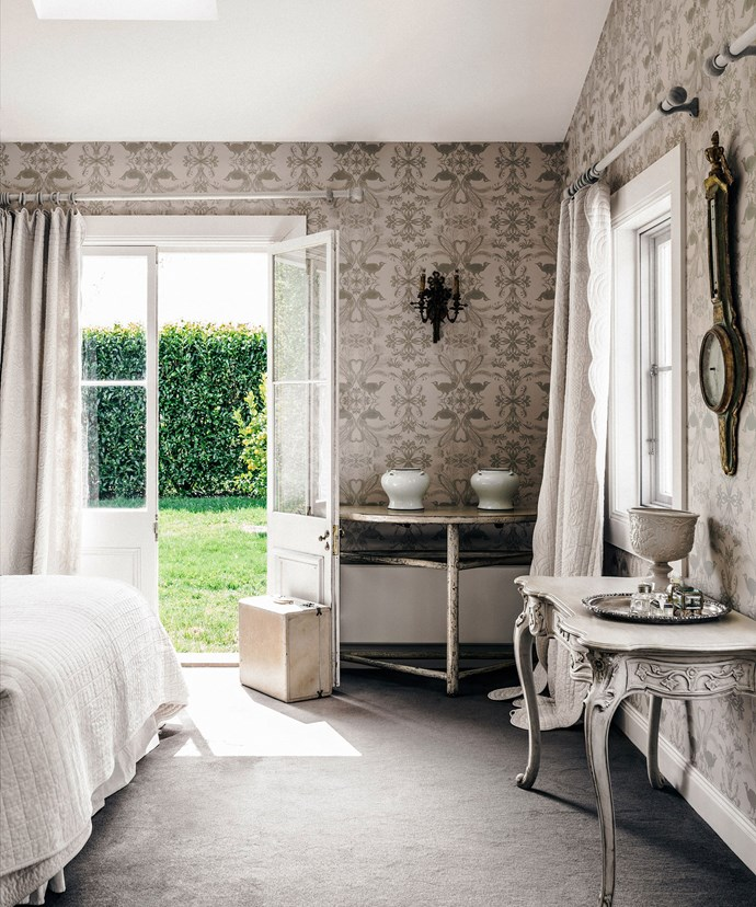 Rich textures and romantic decor add interest within a muted, singular palette. *Image: Felix Forest*