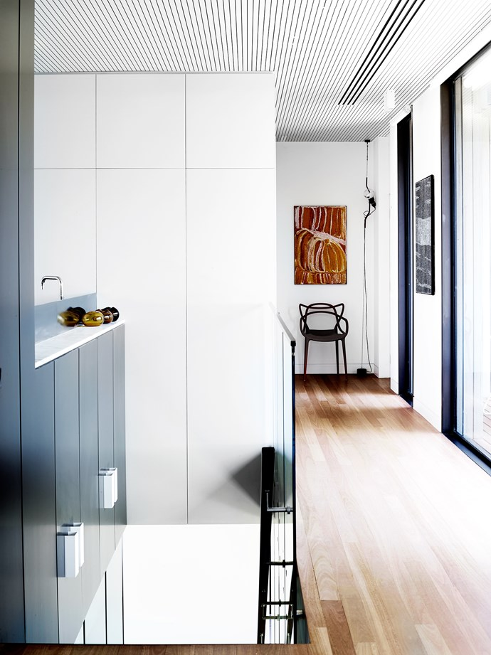 """""""The double-facade house is flooded with light so we used translucent glass objects that glow in jewel colours,"""" says Lucy Marczyk of [Nexus Designs](http://nexusdesigns.com.au/)."""