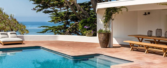 "A stunning in-ground pool is the star of the outdoor entertaining area. Photo: [Chris Cortazzo Malibu Real Estate](http://www.chriscortazzo.com/|target=""_blank""