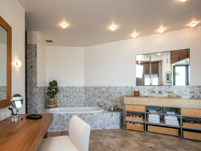 "One of the four spa-like bathrooms, which were a part of the couple's renovations, leads into an openplan dressing room and wardrobe. Photo: [Chris Cortazzo Malibu Real Estate](http://www.chriscortazzo.com/|target=""_blank""