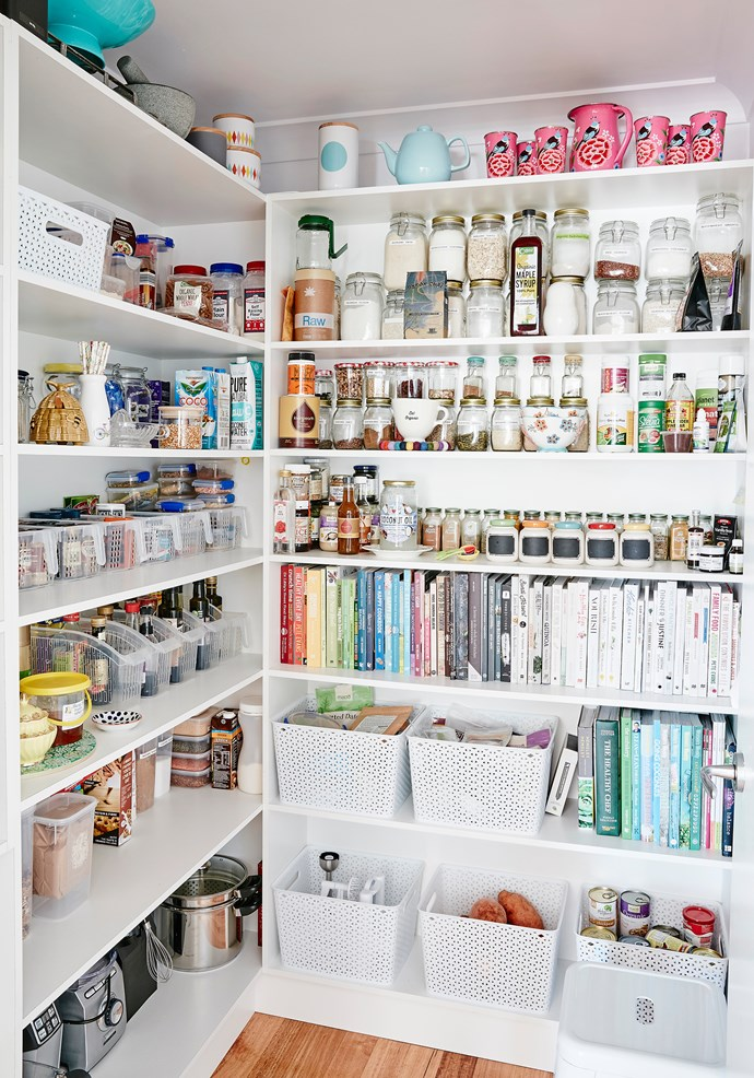 Sharna's cookbook collection lives in her perfectly organised pantry.
