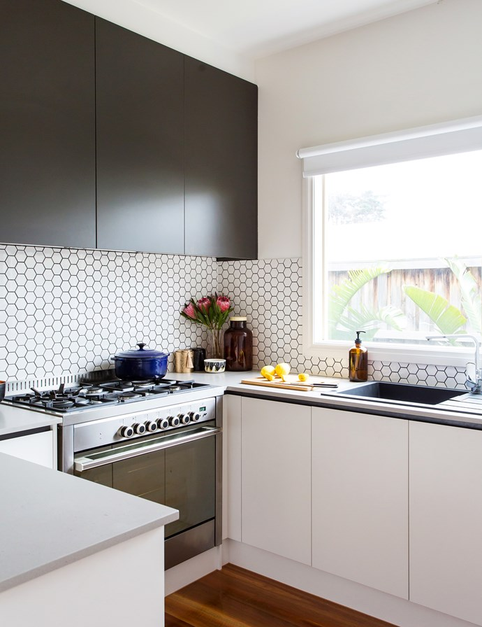 With not a lot of room to move in the kitchen they had to be smart. To streamline her small kitchen Paula opted for recessed handles on the cupboards for a minimum of fuss.