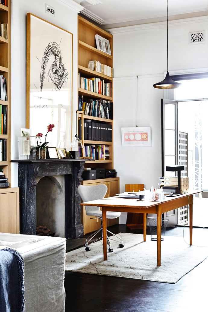 "An outlook and fireplace create an inviting environment for a home office in this [Melbourne terrace](http://www.homestolove.com.au/gallery-annick-and-stephens-chic-terrace-extension-2327|target=""_blank""). Photo: Derek Swalwell"