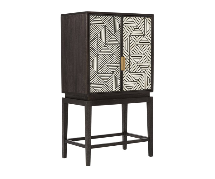 Bone Inlaid bone, resin and mangowood bar cabinet, $1999, [West Elm](http://www.westelm.com.au/).