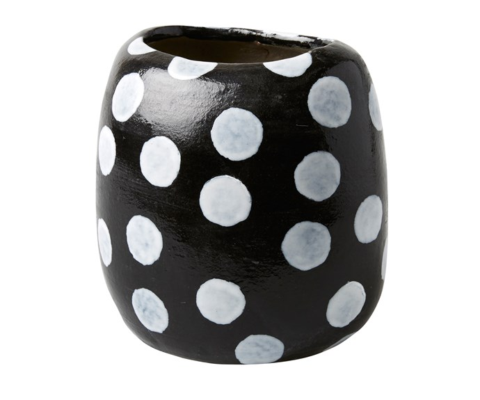 Polka Dot terracotta vase, $70, [Have You Met Miss Jones](http://www.jonesandco.com.au/).