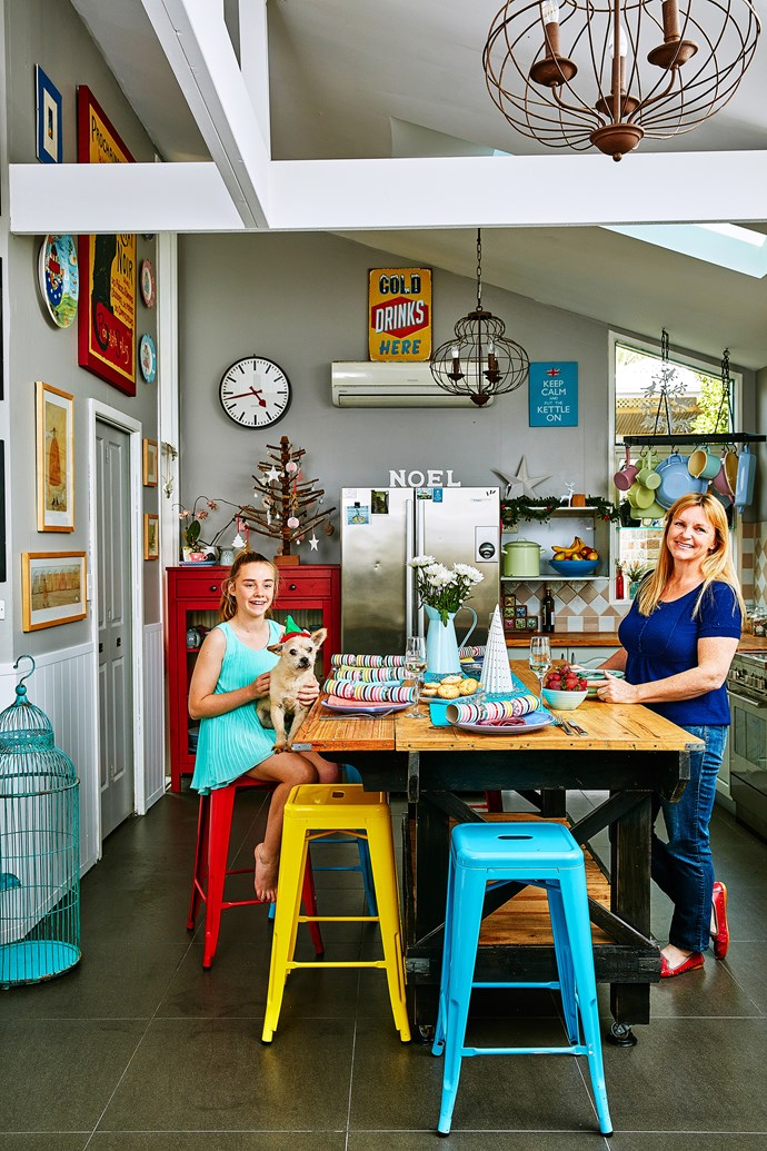 """The kitchen showcases Steph's love of both pastel and bold colours. """"Having a dark neutral base makes everything work,"""" she says. Walls are British Paints """"Solid Stone""""."""