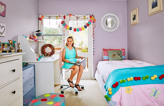 Pastels and brights are a great combo in Sarah's room. Desk and chair from Ikea.
