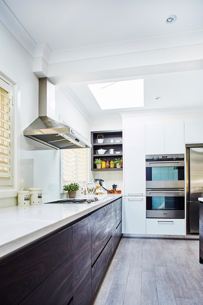 Two large skylights ensure the kitchen has an abundance of natural light.