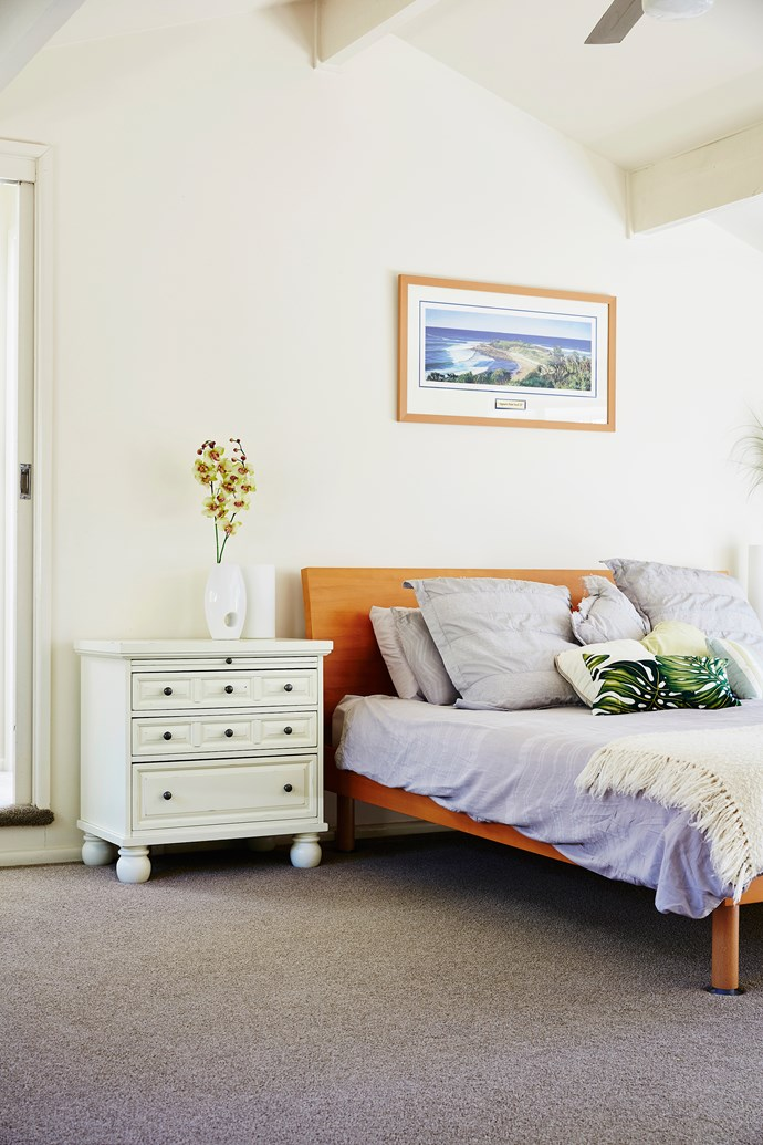 The white bedside chest, bought from the US, has a slide out tray – perfect for brekkie in bed!