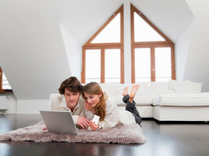 young couple in home