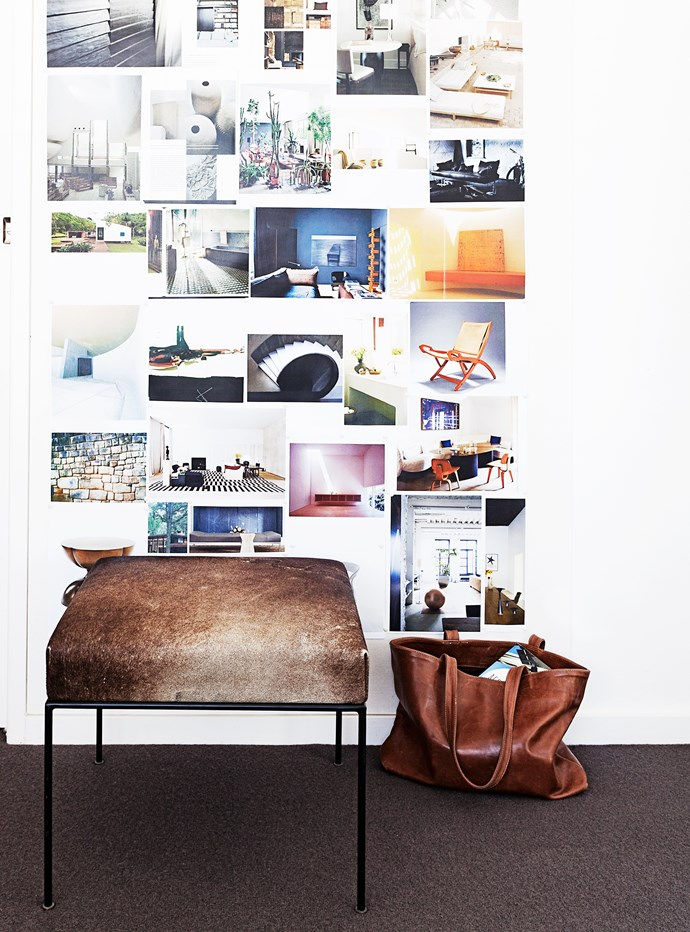 Madeleine has covered a wall in her study with inspiring photos and interior design images.