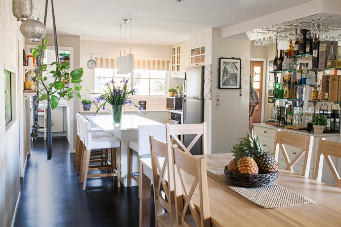 Rachael loves her practical and sturdy Ikea kitchen, which she and Simon put together. The benchtop is Caesarstone in Nougat.