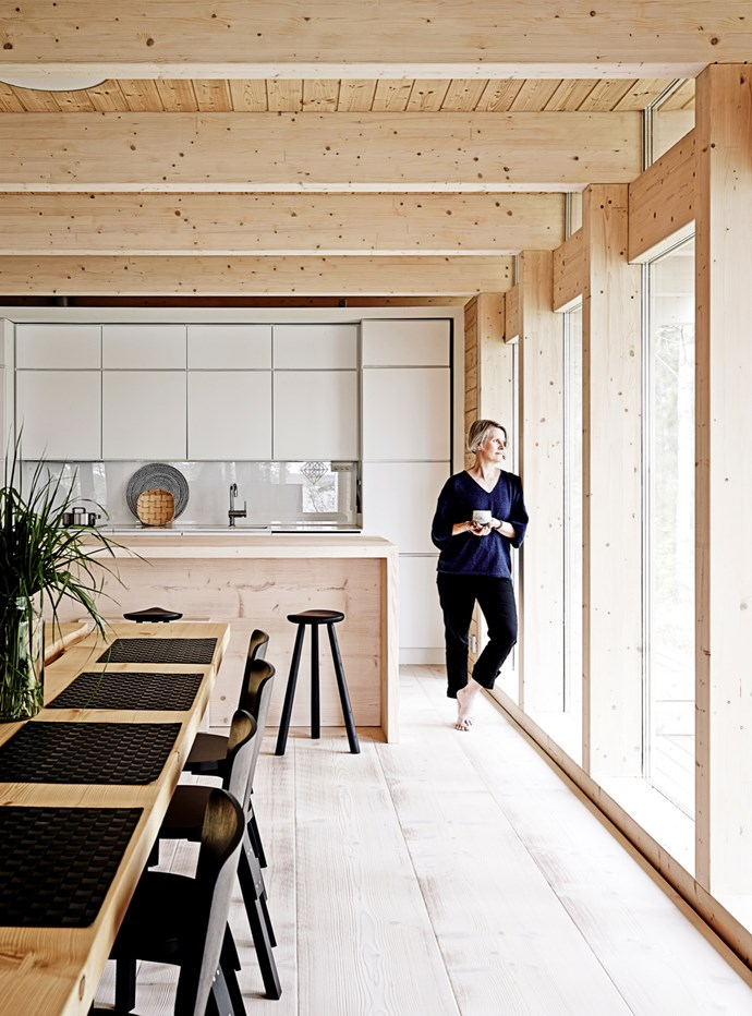 """Take a closer look at the extra-wide boards in this [Scandinavian style timber cabin](http://www.homestolove.com.au/a-scandinavian-inspired-timber-cabin-4561