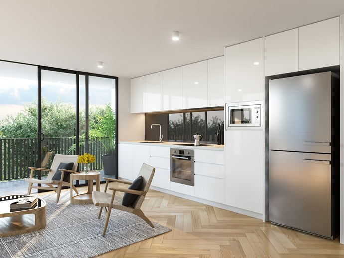 """A straight-line kitchen concept from [The Blue Space](https://www.thebluespace.com.au/