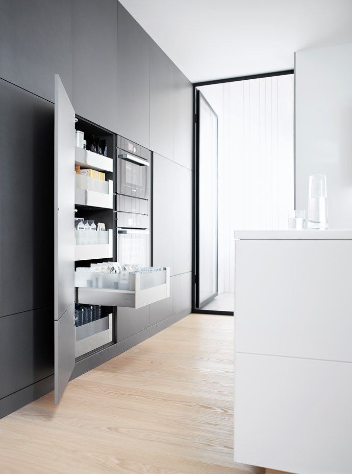 """The Space Tower kitchen-storage system by [Blum](http://www.blum.com/au/en/ target=""""_blank"""" rel=""""nofollow"""") is available in customised widths, heights and depths."""