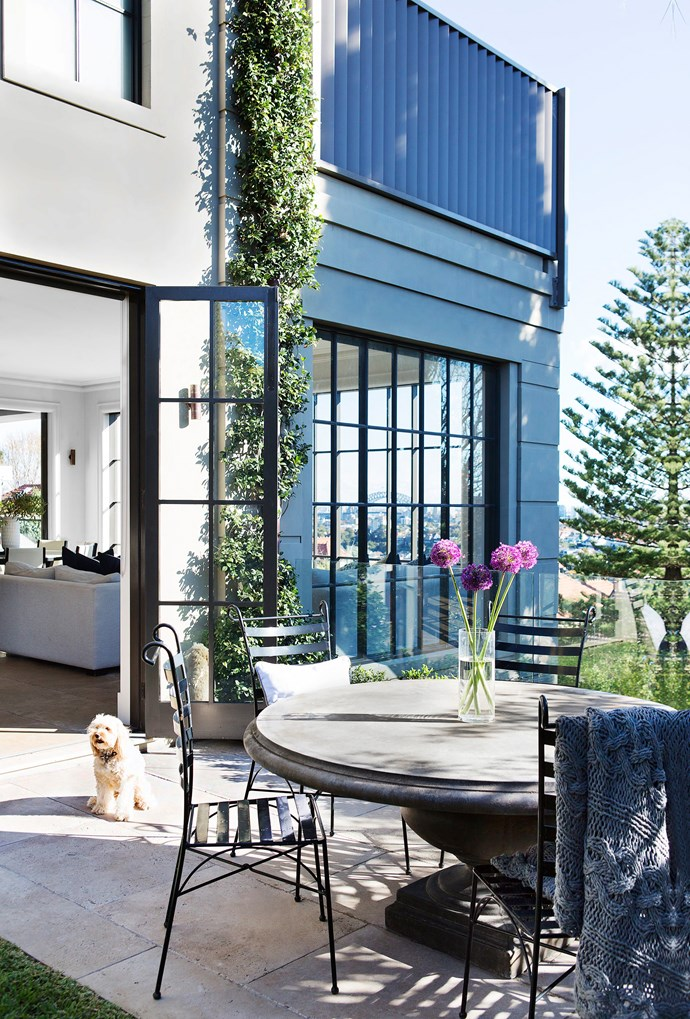 "Rosie the cavoodle loves to patrol the gorgeous [outdoor area](http://www.homestolove.com.au/6-outdoor-rooms-that-get-the-balance-right-1649|target=""_blank""). Reconstituted-stone table and chairs, [Lloyd Loom & Classics](http://www.lloydloom.com.au/site/index.shtml