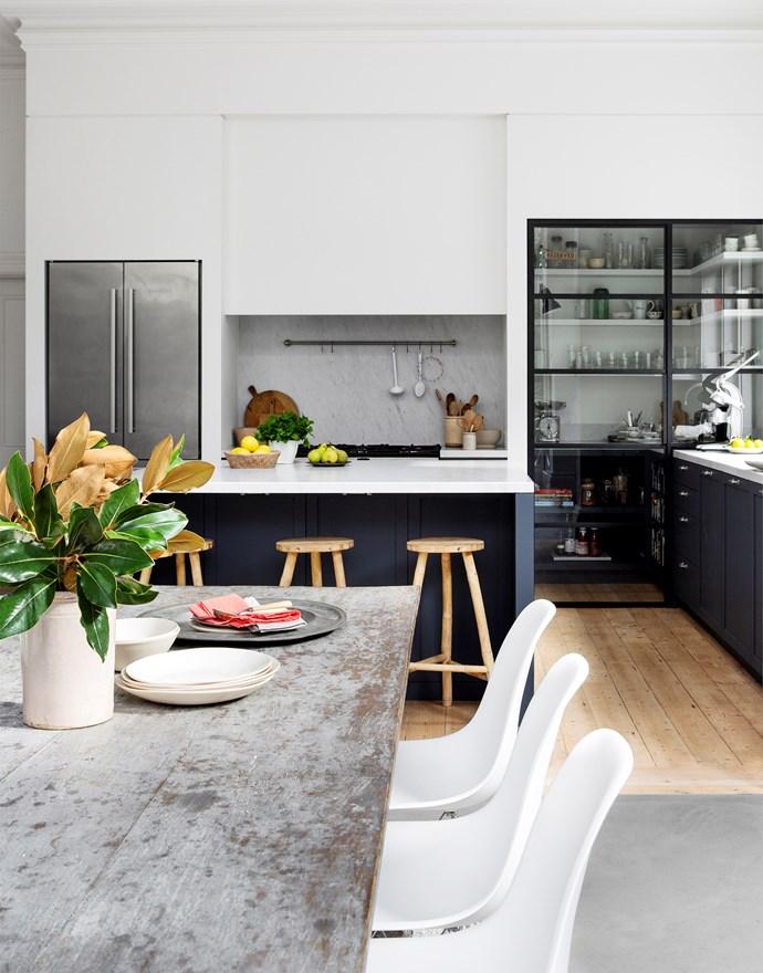 "Kitchen stools, [Safari Living](https://www.safariliving.com/|target=""_blank""|rel=""nofollow""). Liebherr refrigerator. Timber bowl (on island), [House of Orange](http://www.houseoforange.com.au/|target=""_blank""|rel=""nofollow""). Designer buy: SVBSP-400 pulls, $119/each, [Mother of Pearl & Sons Trading](http://motherofpearl.com/|target=""_blank""|rel=""nofollow"")."