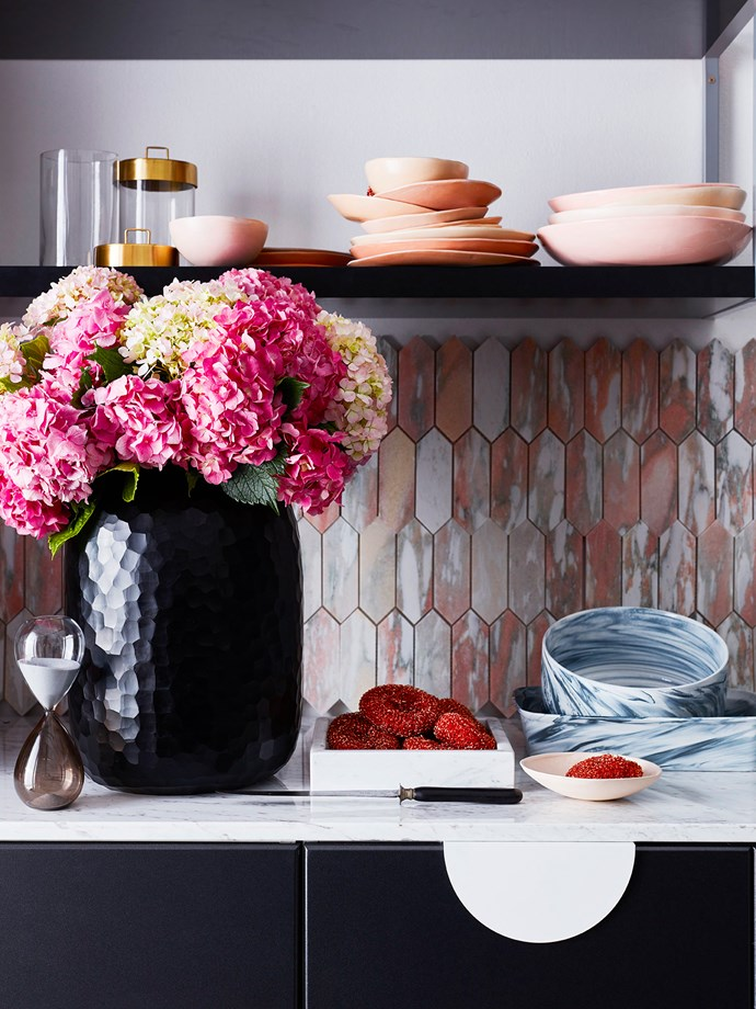 """""""Bambola"""" **vase** in Black Opaque, $732, from Conley & Co. Norwegian Rose **tiles**, $29.90 for a 30cm x 30cm sheet, from Teranova Tiles. **Bowls and plates** in Satin, Husk, Shell and CD Pink, from $34.95 each, Batch Ceramics."""