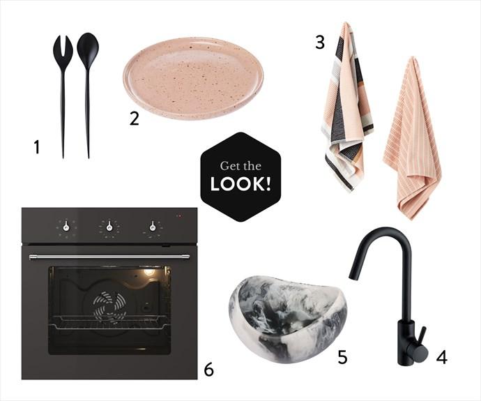 "1. Normann Copenhagen ""Krenit"" **salad set** in Black, $28, from Amara. 2. Speckle **serving dish** in Pink, $54, from Zakkia. 3. Cilla **tea towel** in Blush, $16.95 for 2, CO:Home. 4. Mizu ""Drift"" **sink mixer** in Black, $362, from Reece. 5. Medium Beetle **bowl** in Black/Snow Swirl, $200, from Dinosaur Designs. 6. Tjänlig **oven** in Dark Grey, $599, from Ikea."