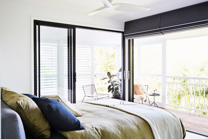 With its deck access, the master bedroom takes full advantage of the leafy outlook.