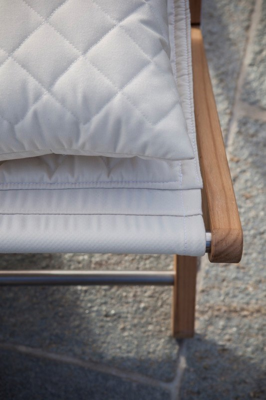 Detail of the quilted camp bed designed by Jamie Durie for Italian outdoor furniture manufacturer Unopiu.