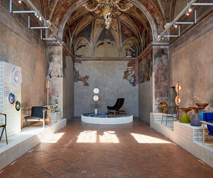 Under one beautiful roof... The work of 11 Australian designers on show in the Oratoria della Passione, a historic church in Milan's Cinque Vie district during Milan's Salone del Mobile design week. Photo – Fiona Susanto.