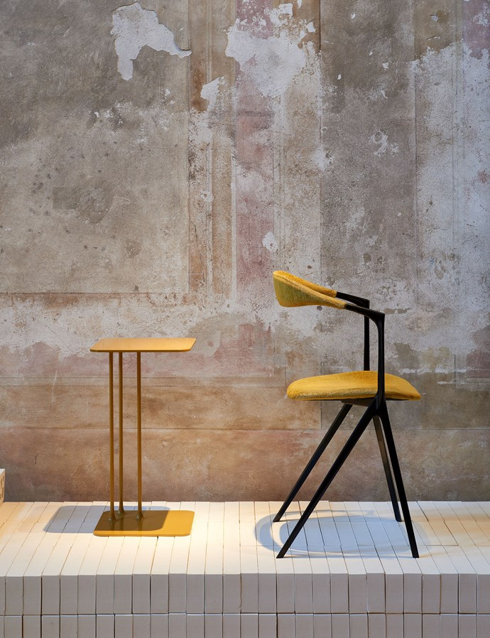 Charles Wilson showcased his La Nina table and Sarus chair in the Local Milan exhibition. Photo – Fiona Susanto.