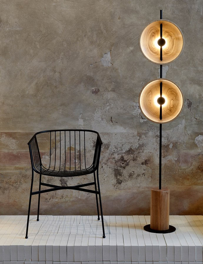Tom Fereday's SP01 Jeanette outdoor chair and Mito lamp. Photo – Fiona Susanto.