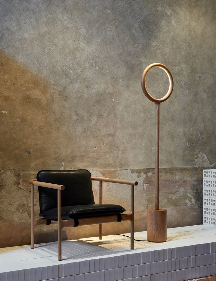 Tom Skeehan is a return visitor to Milan. His Hoshi chair and Holo lamp are crafted from oak. Photo – Fiona Susanto.