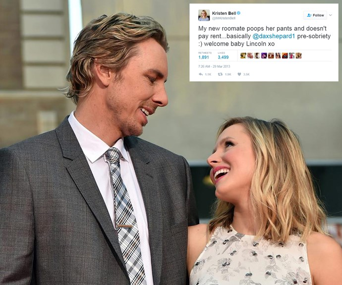 """Trust Kristen Bell and Dax Shepard to turn giving birth into a laugh! """"My new roomate poops her pants and doesn't pay rent... basically @daxshepard1 pre-sobriety :) welcome baby Lincoln,"""" the starlet tweeted after welcoming the couple's first."""