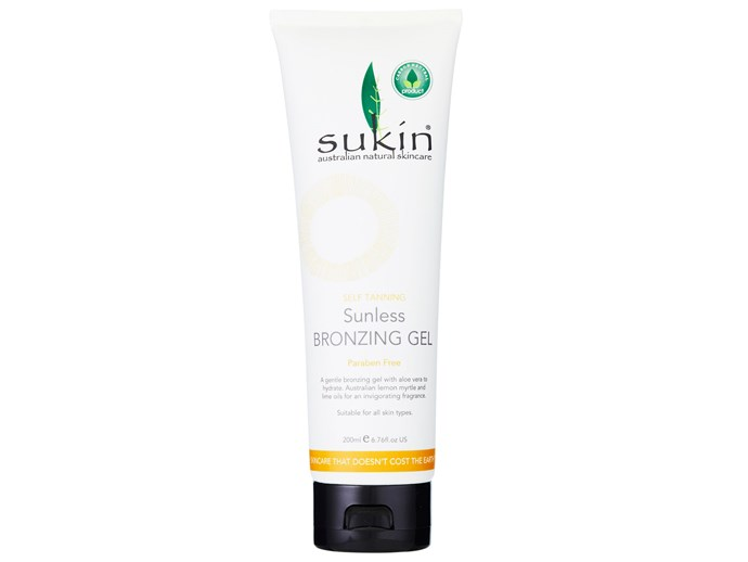 If you're concerned about the long-term effects of the tanning agent dihydroxyacetone (DHA), this lets you bronze away without the worry. Free from parabens and skin nasties, plus enriched with aloe vera, Australian lemon myrtle and lime oils, it will hydrate while leaving a sheer, streak-free tint.  [Sukin Sunless Bronzing Gel, $17.95](http://sukinorganics.com/)