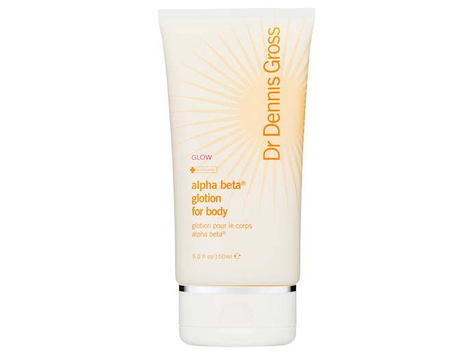 If you're serious about anti-ageing and want more than just glowing skin, this daily moisturiser contains lactic acid to improve cell turnover, glycolic acid for anti-ageing and caffeine for firming. A winning combo.  [Dr Dennis Gross Alpha Beta Glotion body moisturiser, $57](http://mecca.com.au/dr-dennis-gross/glotion-alpha-beta-body-moisturiser/I-019406.html#q=Dr.+Dennis+Gross+Skincare&start=1)