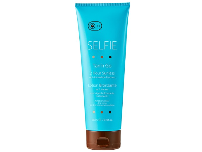 If your self-tanning habit is getting expensive, try this new one and you'll have a tan in two hours for less than $20. Deeply nourishing, it's enriched with vitamin A and E as well as green tea, which has brilliant antioxidant effects.  [Selfie Tan'N Go, $19.99](http://www.chemistwarehouse.com.au/)