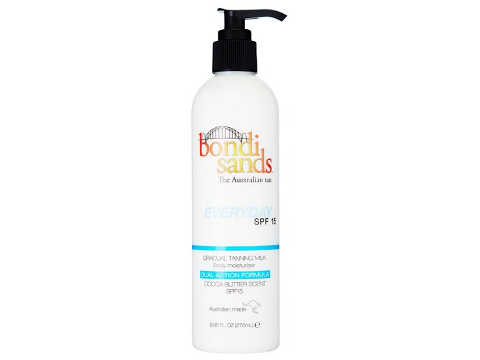 With the added benefit of sunscreen, you can protect your skin while developing a golden glow. This milk contains skin-calming vitamin E and aloe vera and it smells of cocoa butter.   [Bondi Sands Everyday SPF 15 Gradual Tanning Milk, $17.95](https://www.bondisands.com.au/gradual-tanning-milk-everyday-spf-15.html)