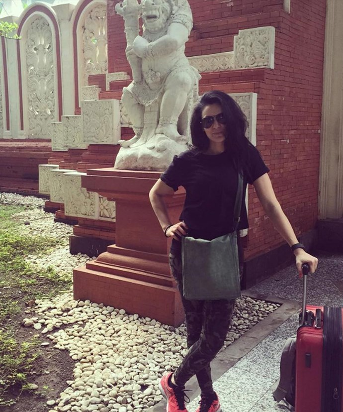 """""""The best way to help you through a break up is to head #overseas. Can you guess where I'm at?? #hardtimes #broken,"""" the reality star penned alongside this travel snap."""