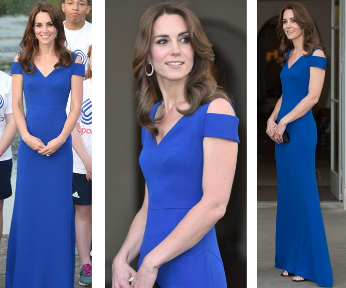 A royal blue Roland Mouret dress was the perfect choice for the SportsAid 40th Anniversary dinner in London.